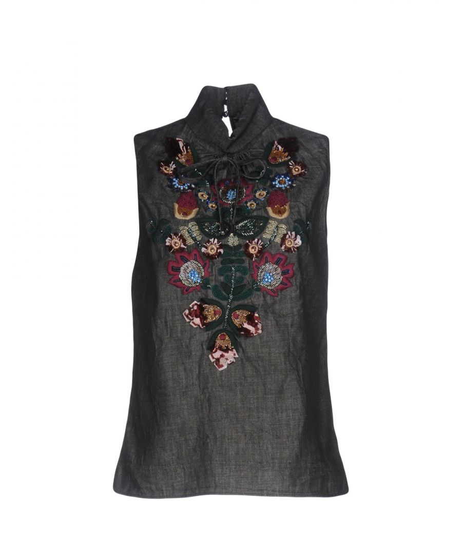 Image for Dsquared2 Black Embroidered Denim Sleeveless Blouse