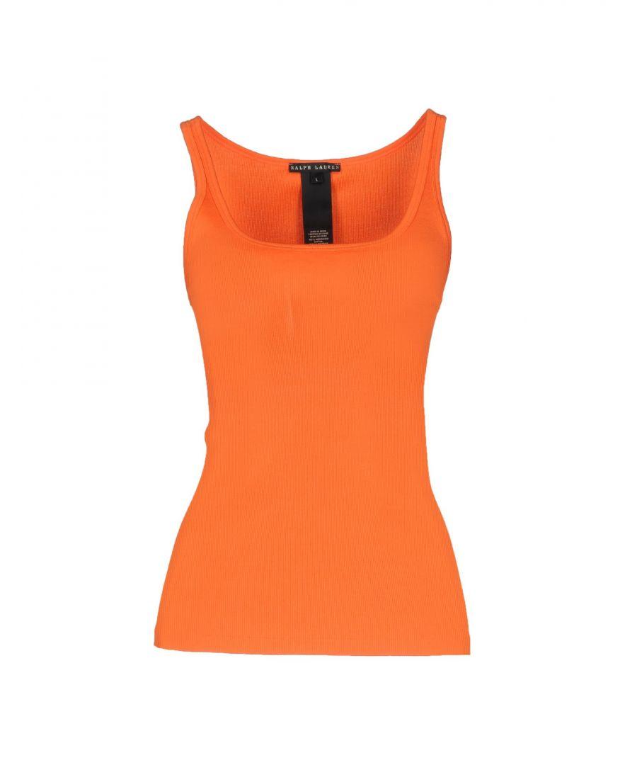 Image for Ralph Lauren Black Label Orange Cotton Lightweight Knit Tank