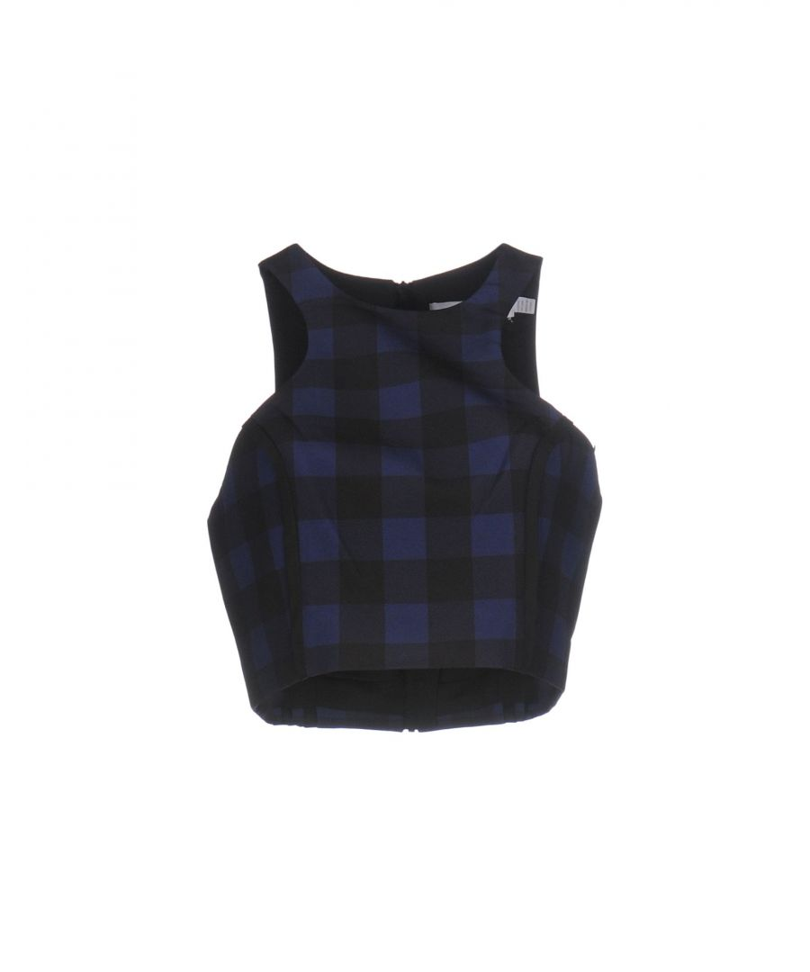 Image for Finders Keepers Blue Check Sleeveless Cropped Top