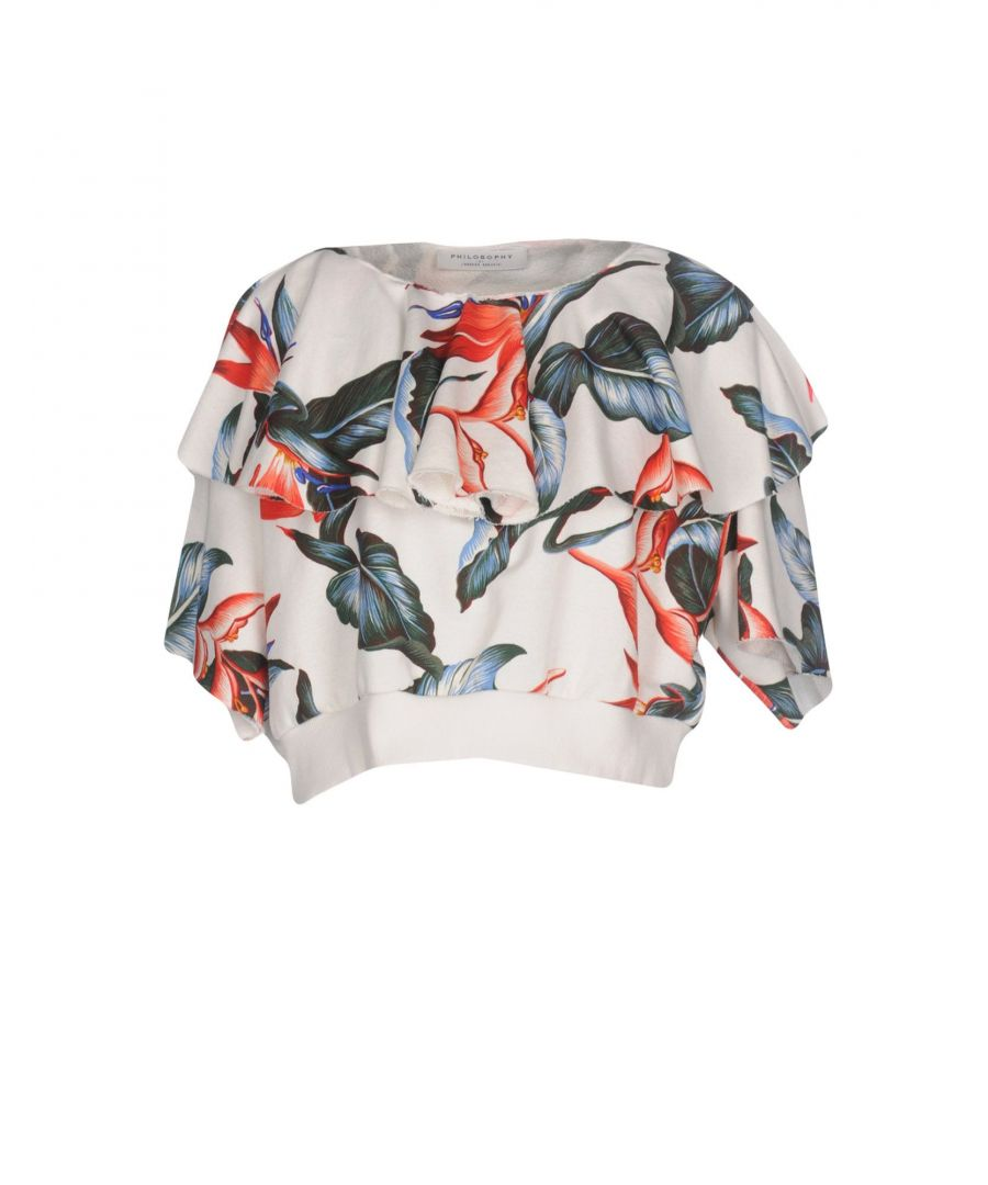 Image for Philosophy Di Lorenzo Serafini White Floral Print Cotton Cropped Sweatshirt