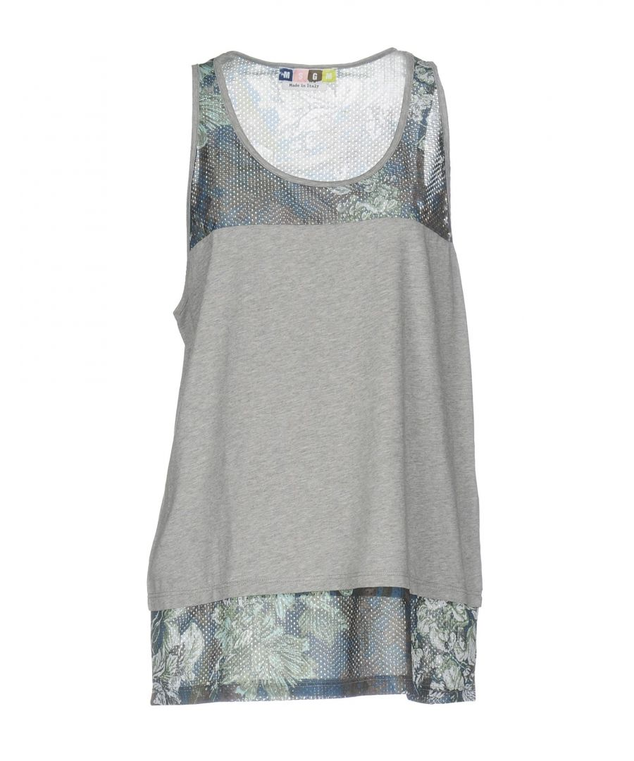Image for MSGM Grey Cotton Jersey Vest Top