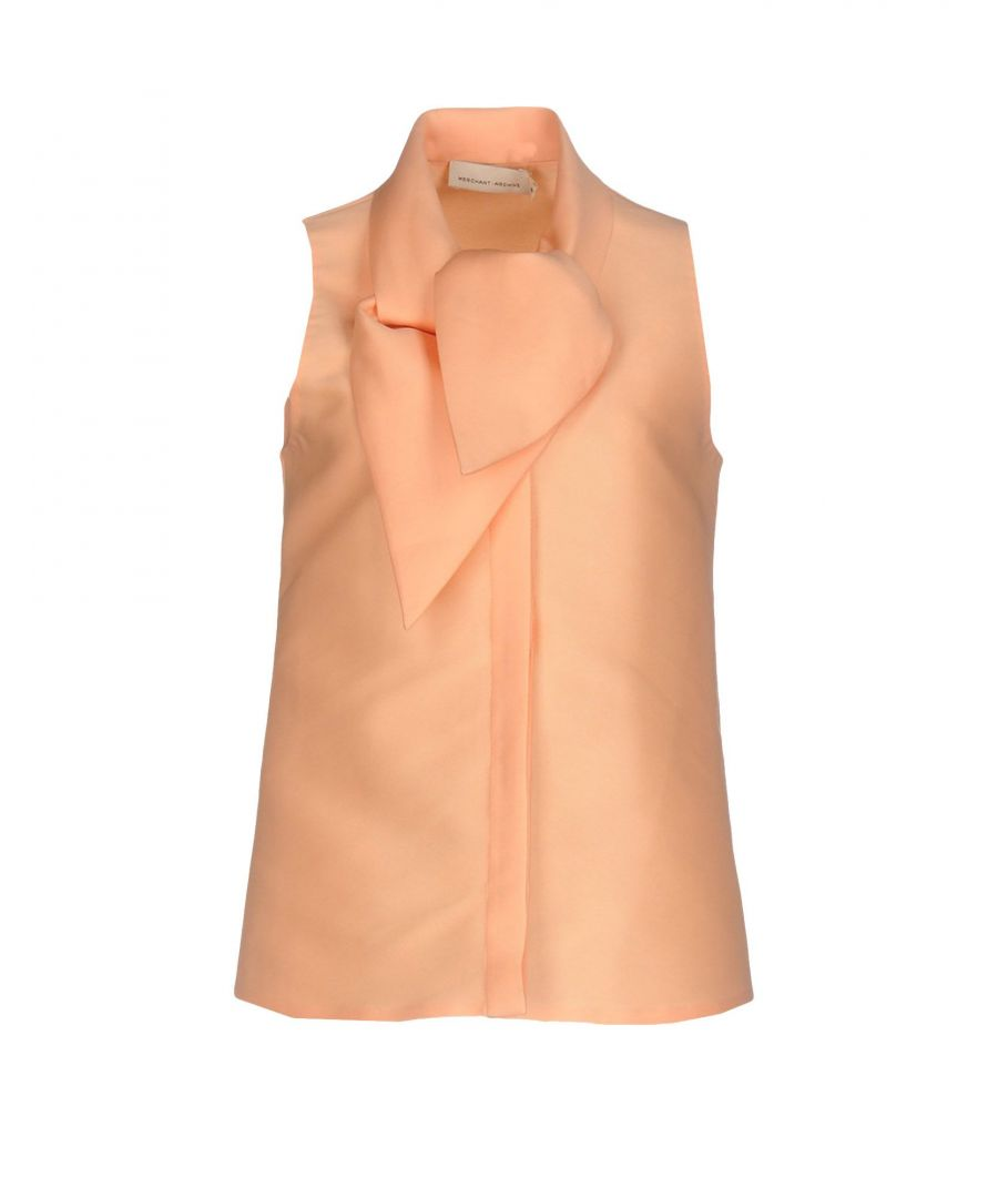 Image for Merchant Archive Salmon Pink Sleeveless Bow Collar Blouse