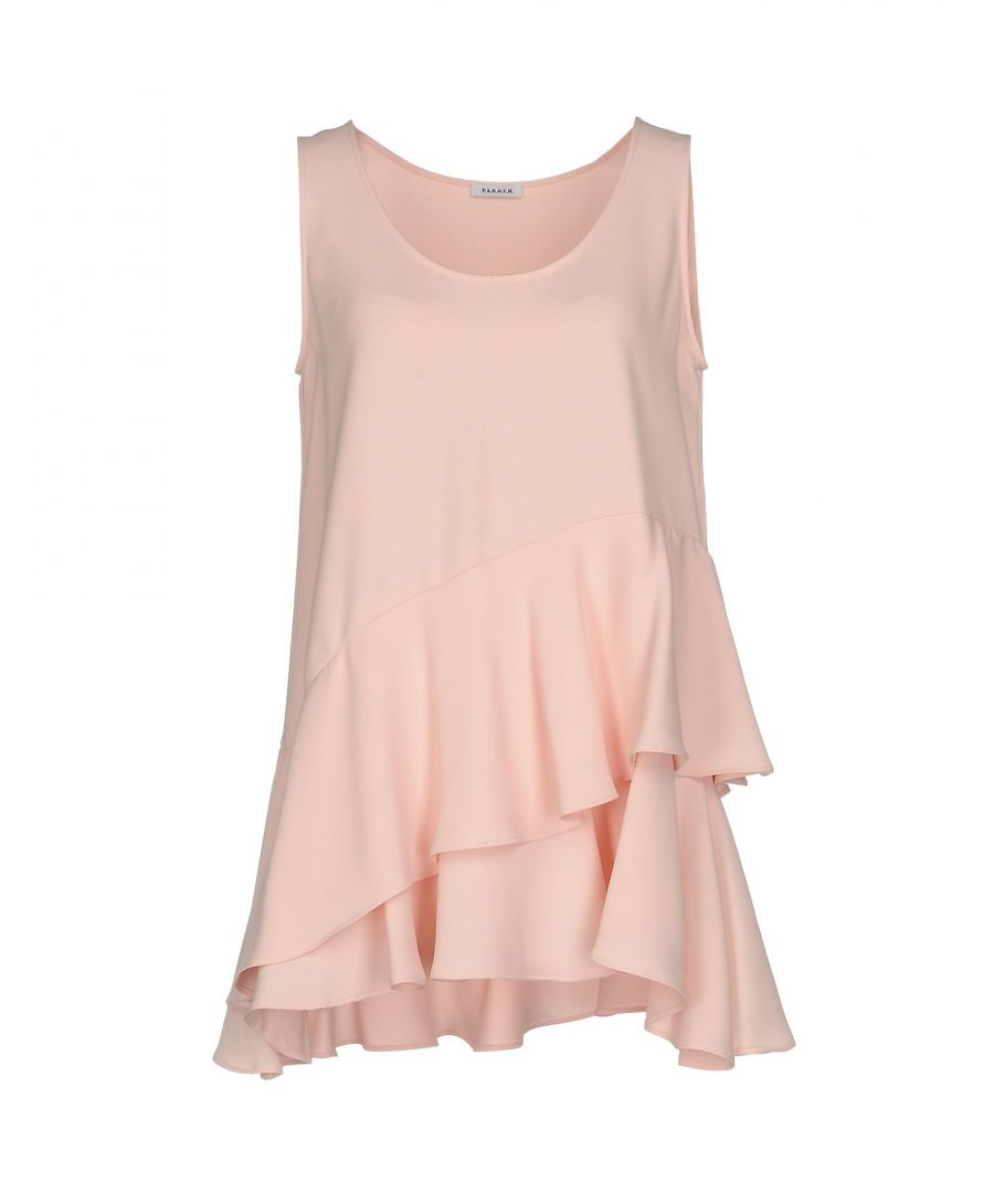 Image for P.A.R.O.S.H. Light Pink Crepe Ruffle Tank