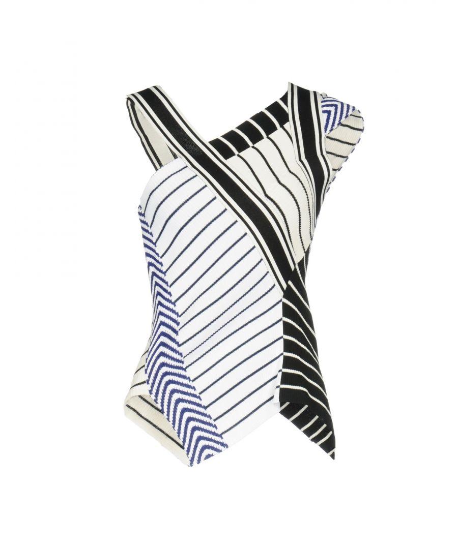 Image for Emilio Pucci White Stripe Knit Sleeveless Top