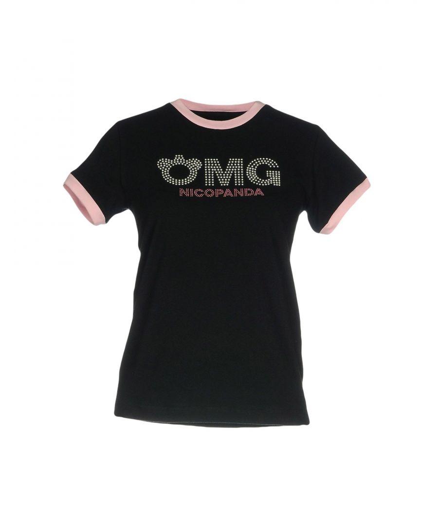 Image for Nicopanda Black Cotton Logo T-Shirt