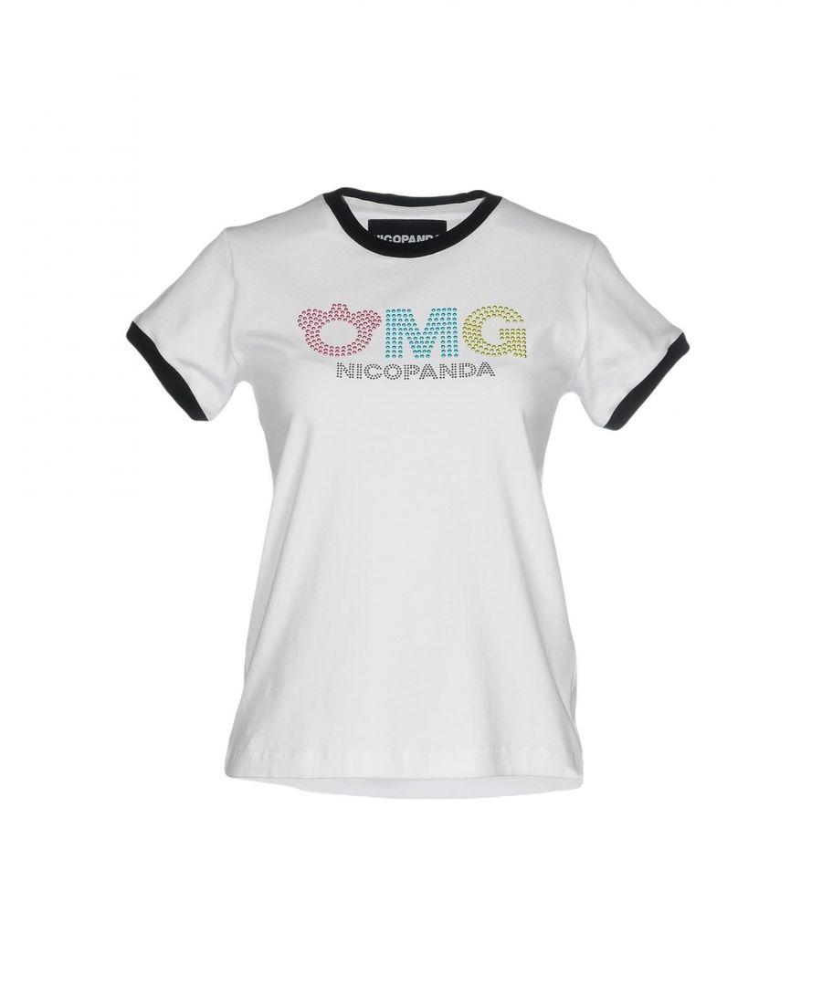 Image for Nicopanda White Cotton Logo T-Shirt