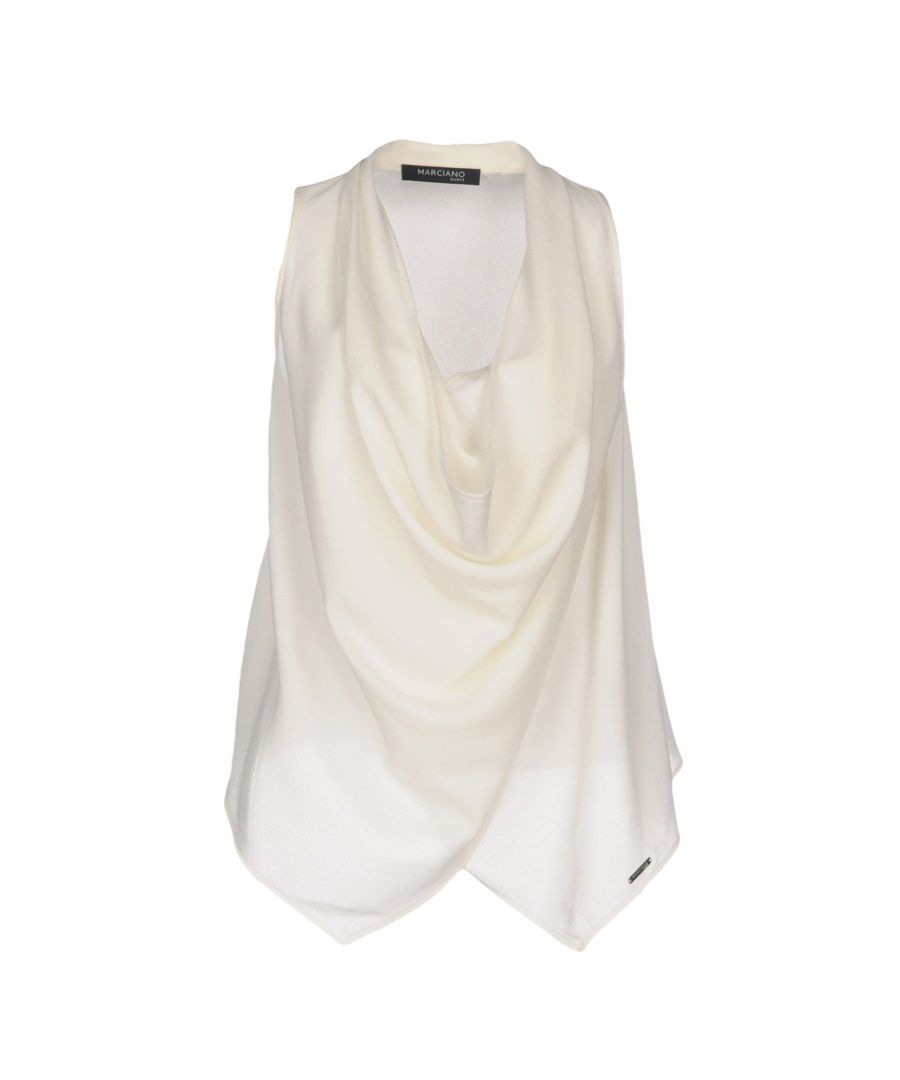 Image for Marciano Ivory Crepe Draped Blouse