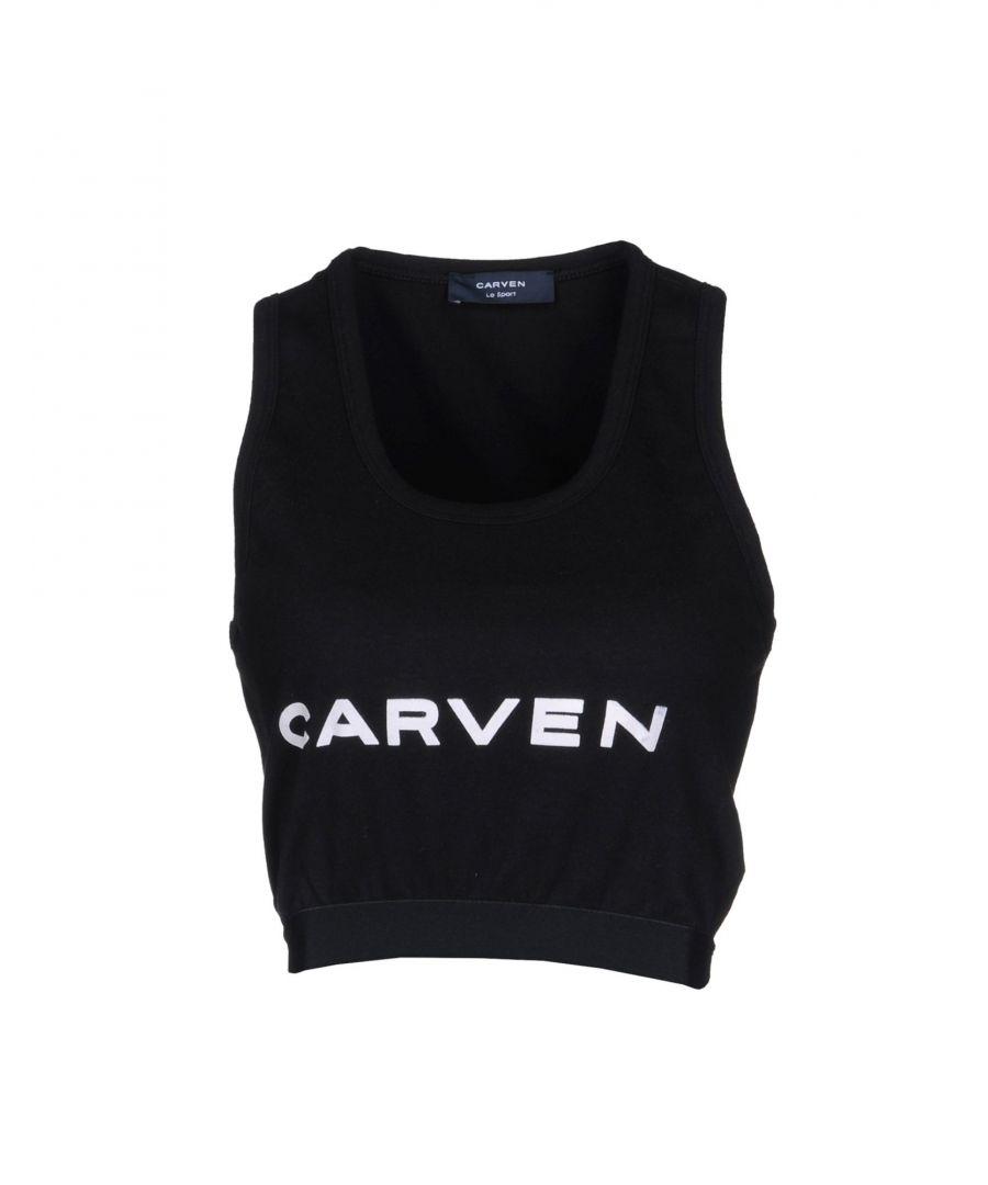 Image for Carven Le Sport Black Cotton Logo Tank