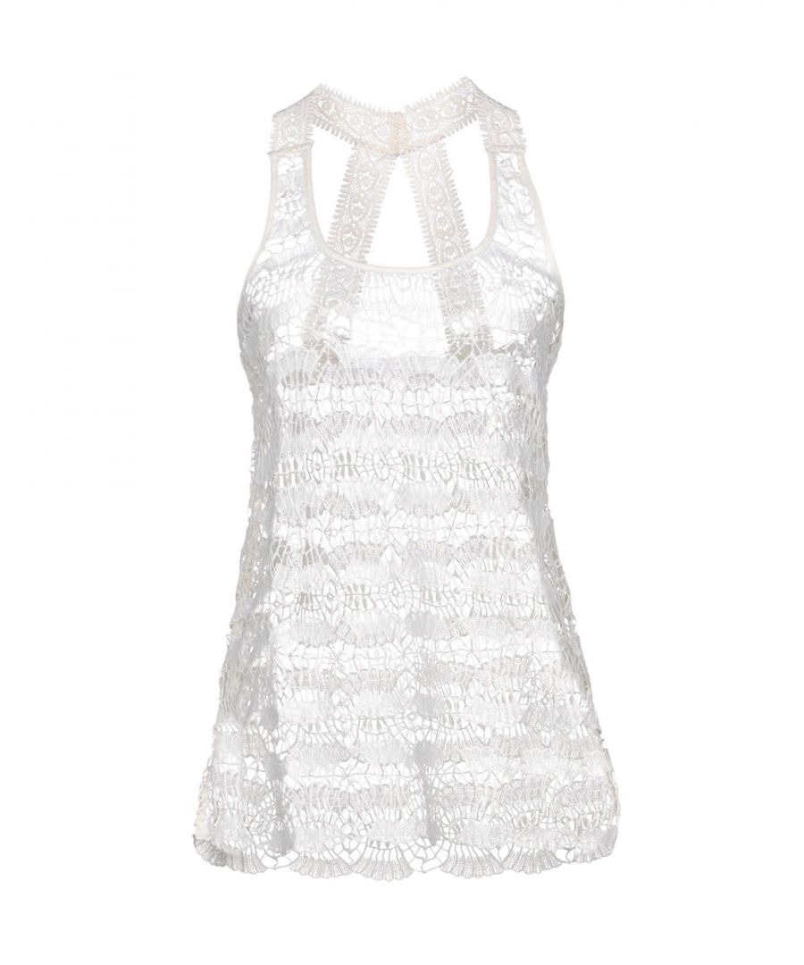 Image for Ondademar Ivory Cotton Lace Tank