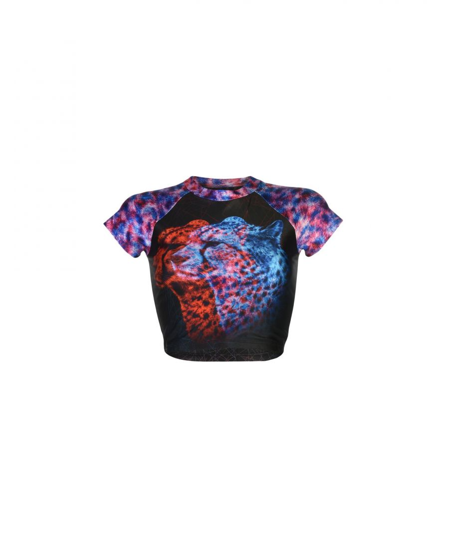 Image for We Are Handsome Black Animal Print Cropped T-Shirt