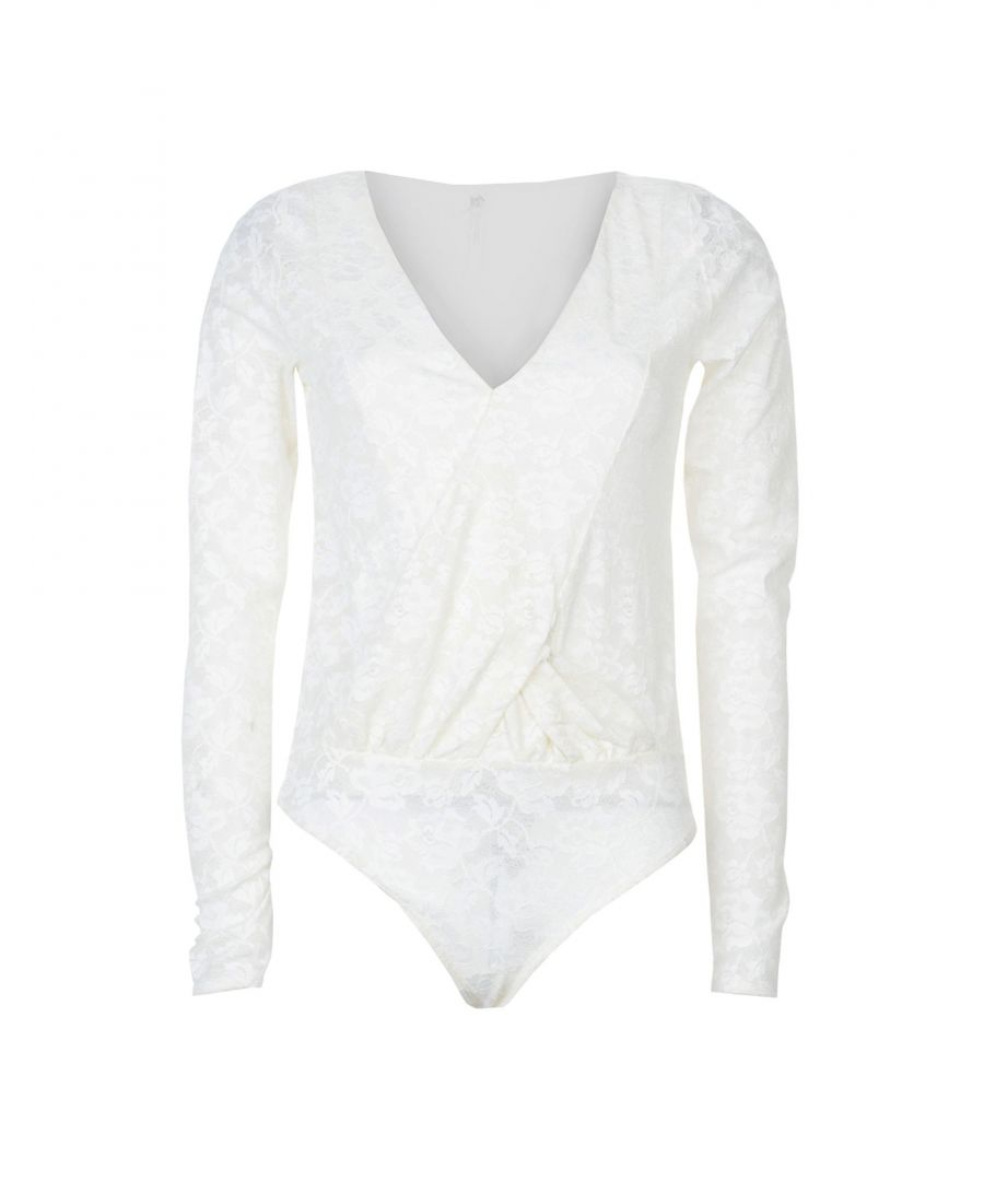 Image for Free People Ivory Lace Long Sleeve Bodysuit
