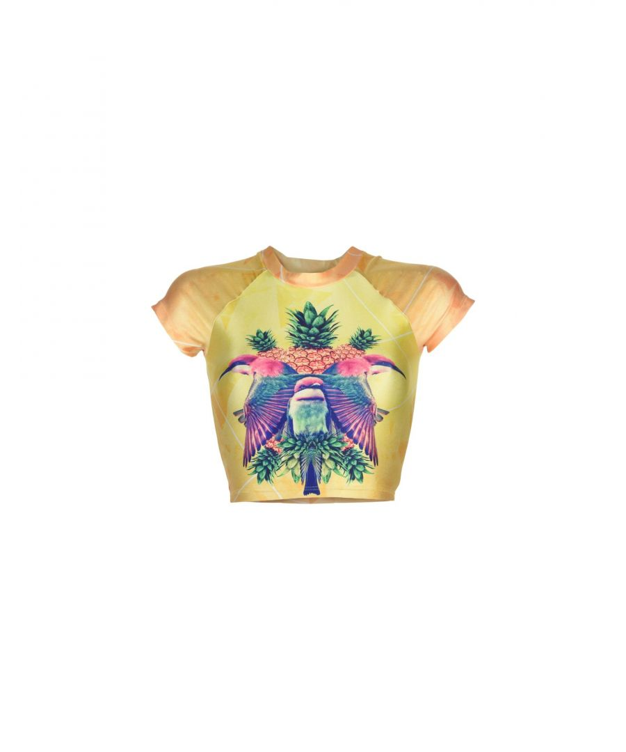 Image for We Are Handsome Yellow Pattern Cropped T-Shirt