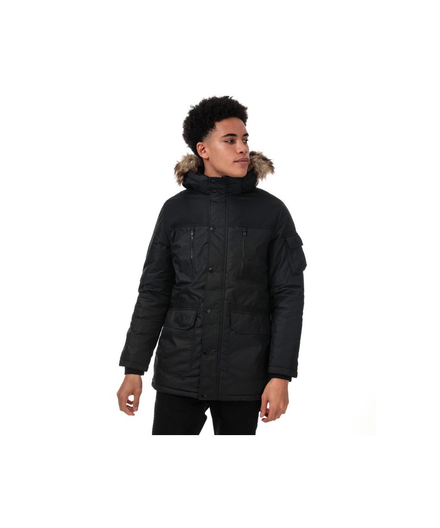 Image for Men's Jack Jones Globe Parka Jacket in Black