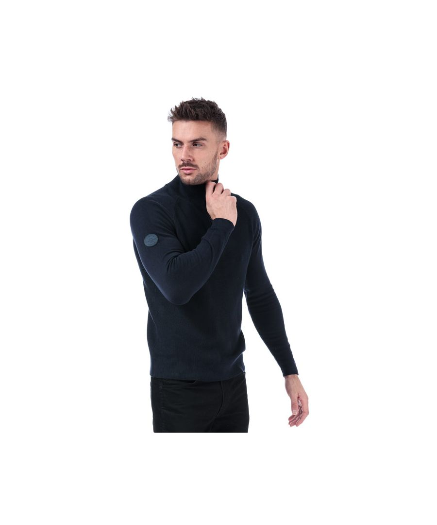Image for Men's Jack Jones Klover Zip Neck Knit in Navy