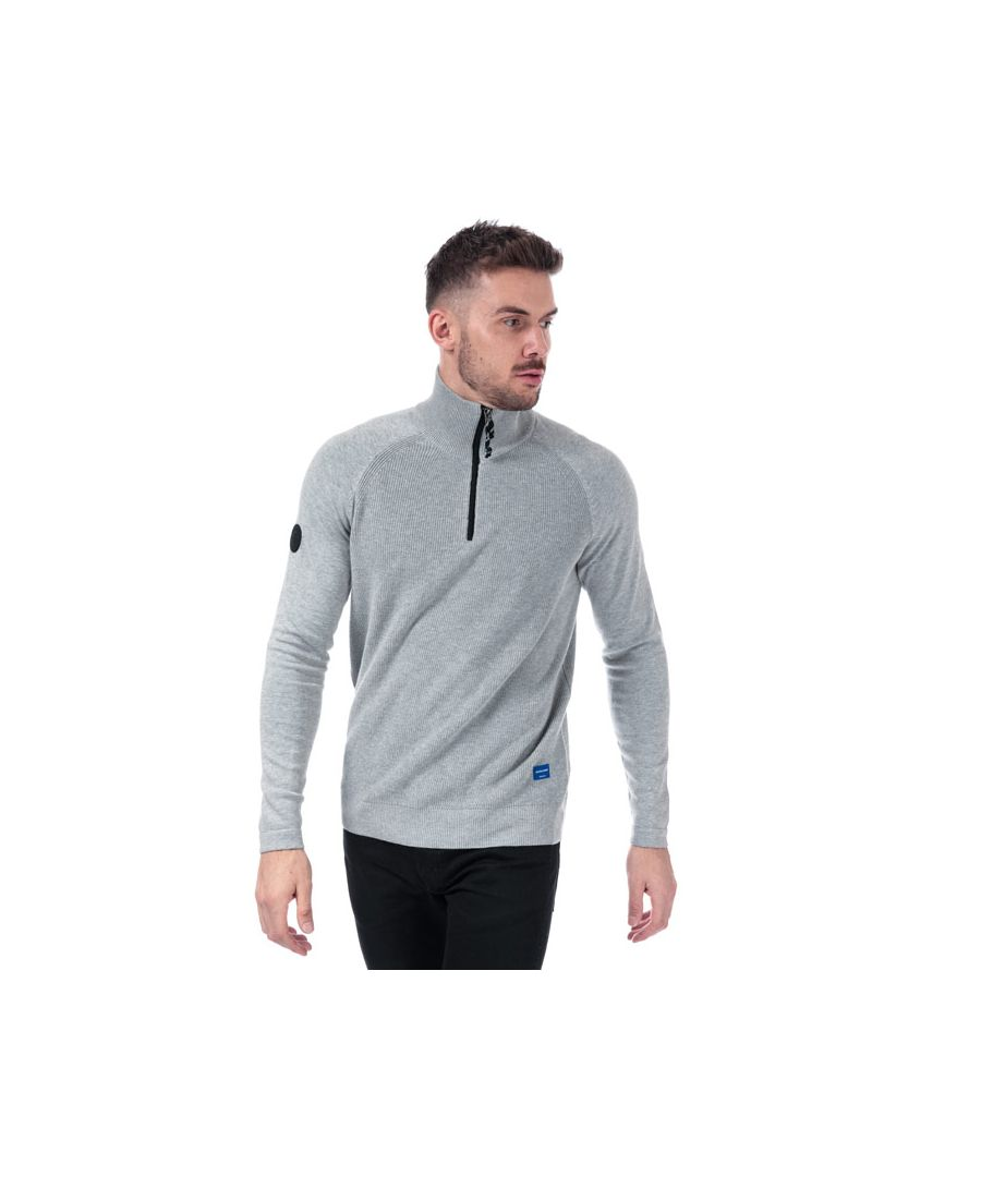 Image for Men's Jack Jones Klover Zip Neck Knit in Grey