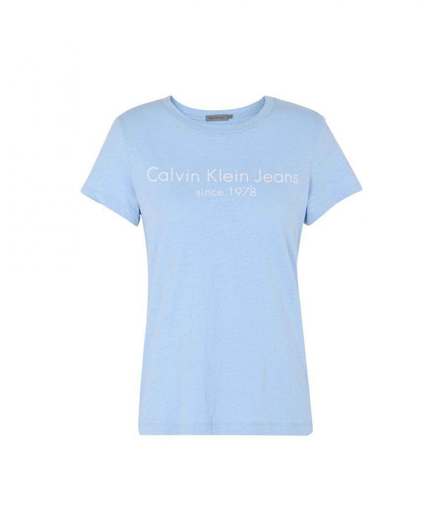 Image for Calvin Klein Jeans Sky Blue Logo Cotton T-Shirt
