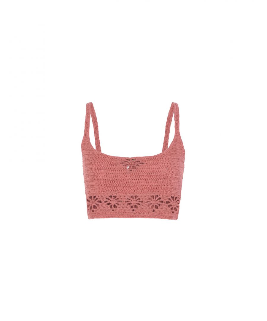 Image for Free People Pastel Pink Cotton Crochet Bralet