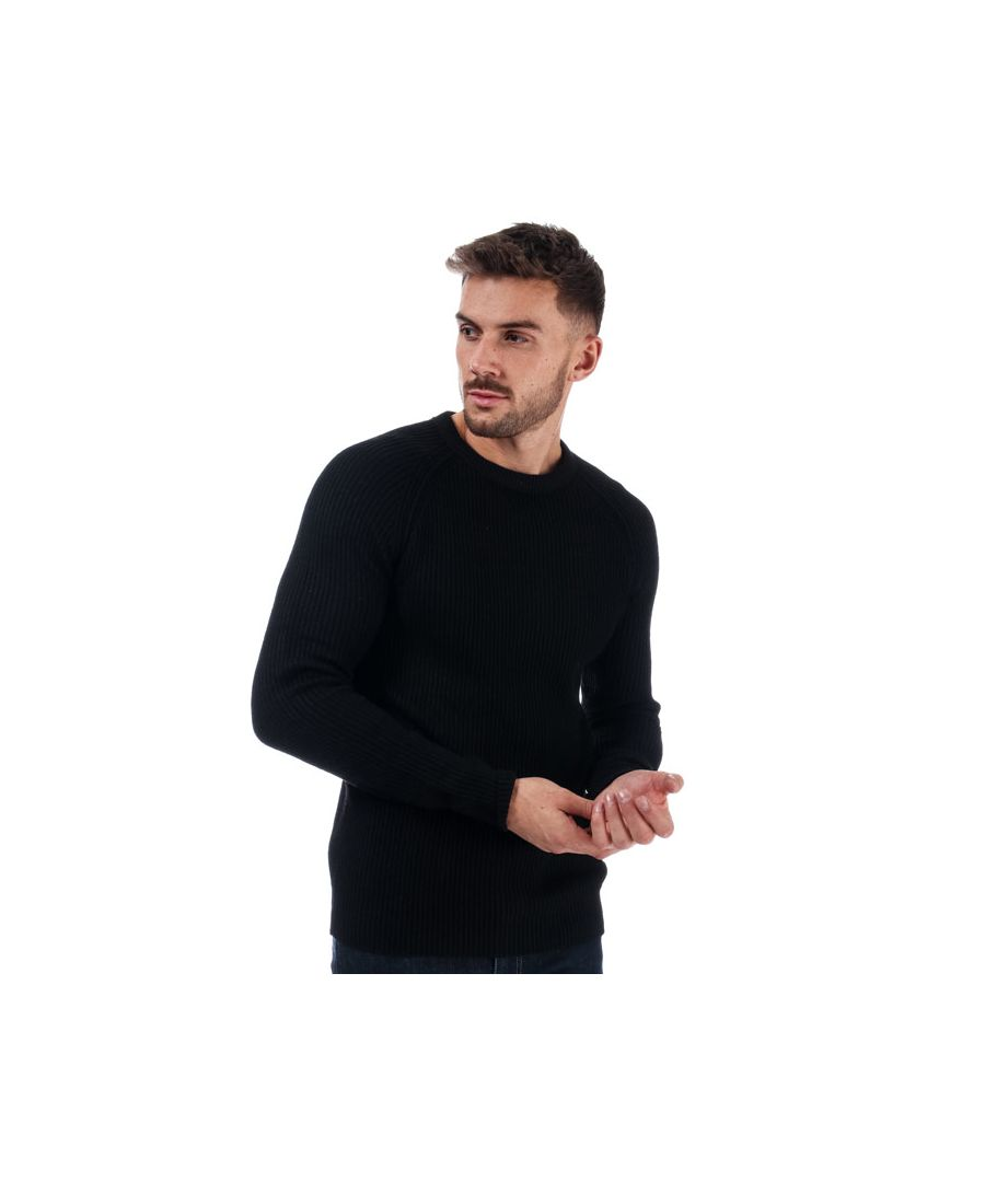 Image for Men's Jack Jones Pannel Crew Knit in Black