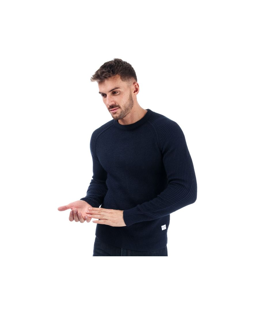Image for Men's Jack Jones Pannel Crew Knit in Navy