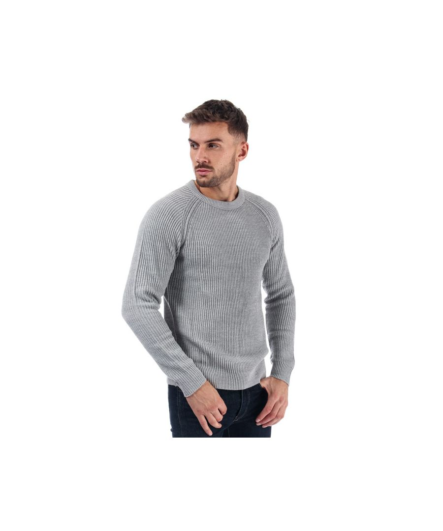 Image for Men's Jack Jones Pannel Crew Knit in Grey Marl