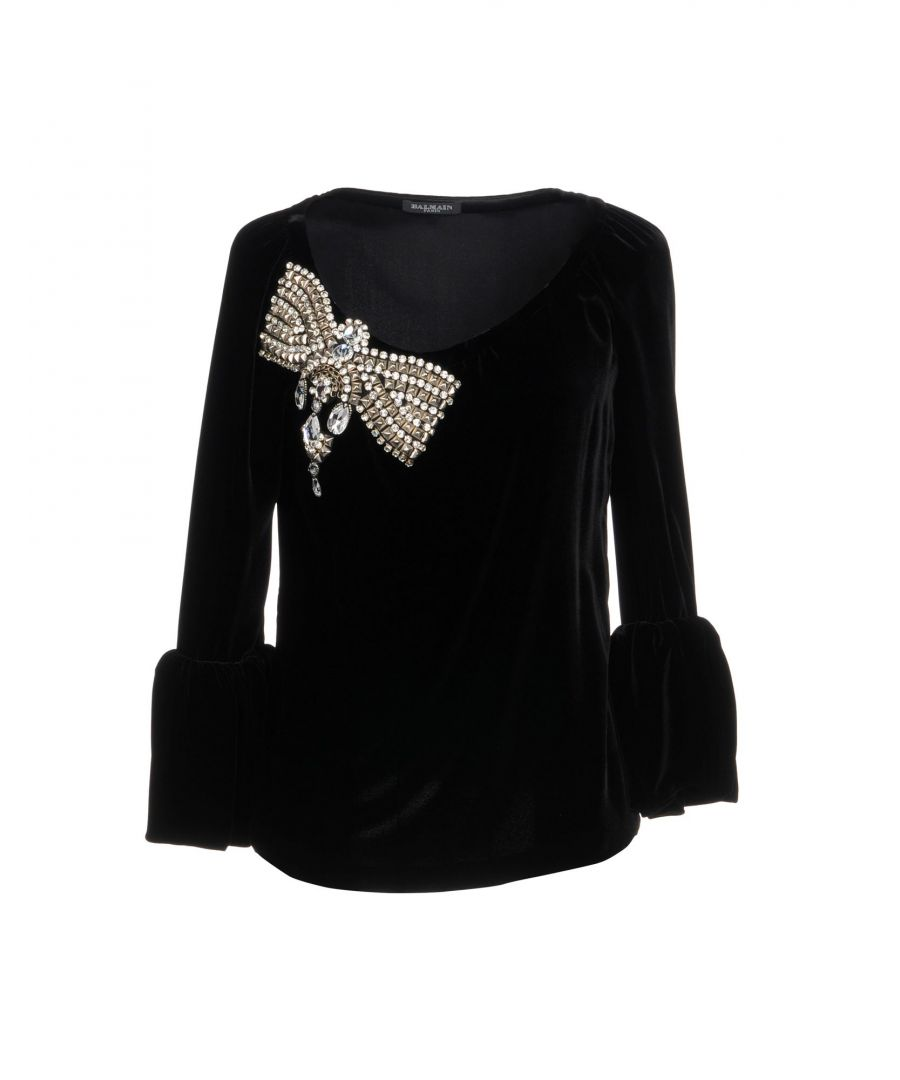 Image for Balmain Black Chenille And Rhinestones Shirt