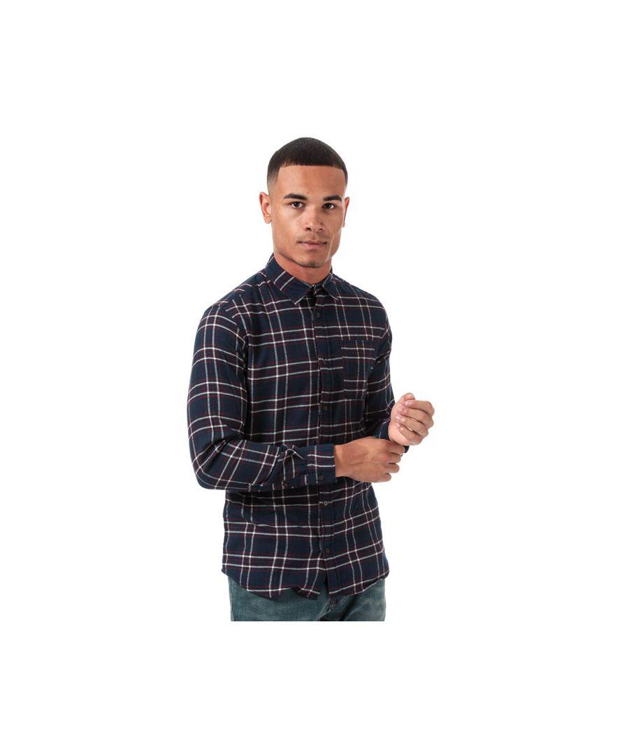 Image for Men's Jack Jones Plain Pre Check Shirt in Navy