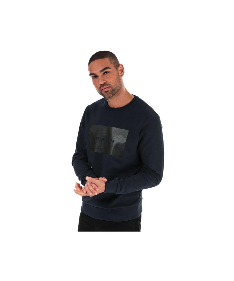 Image for Men's Jack Jones Tonal Logo Crew Sweatshirt in Navy