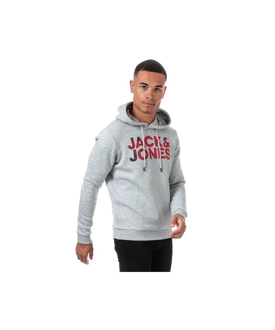 Image for Men's Jack Jones Splash Logo Hoody in Light Grey
