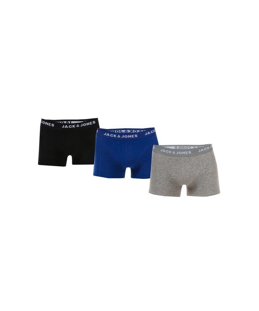 Image for Boy's Jack Jones Junior Solid 3 Pack Boxer Shorts in Grey blue