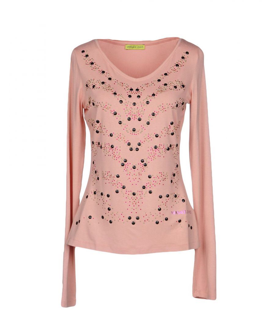 Image for Versace Jeans Pink Embellished Long Sleeve T-Shirt
