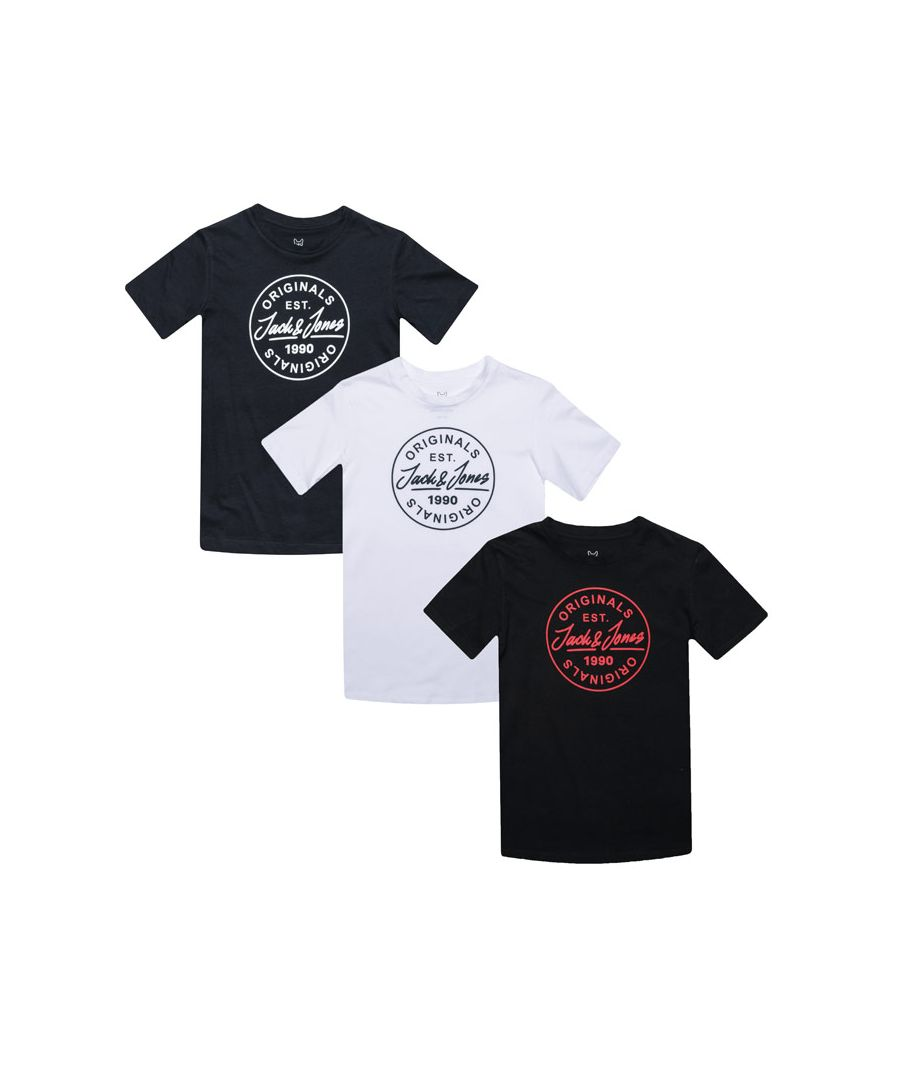 Image for Boy's Jack Jones Junior More 3 Pack T-Shirts in Multi colour