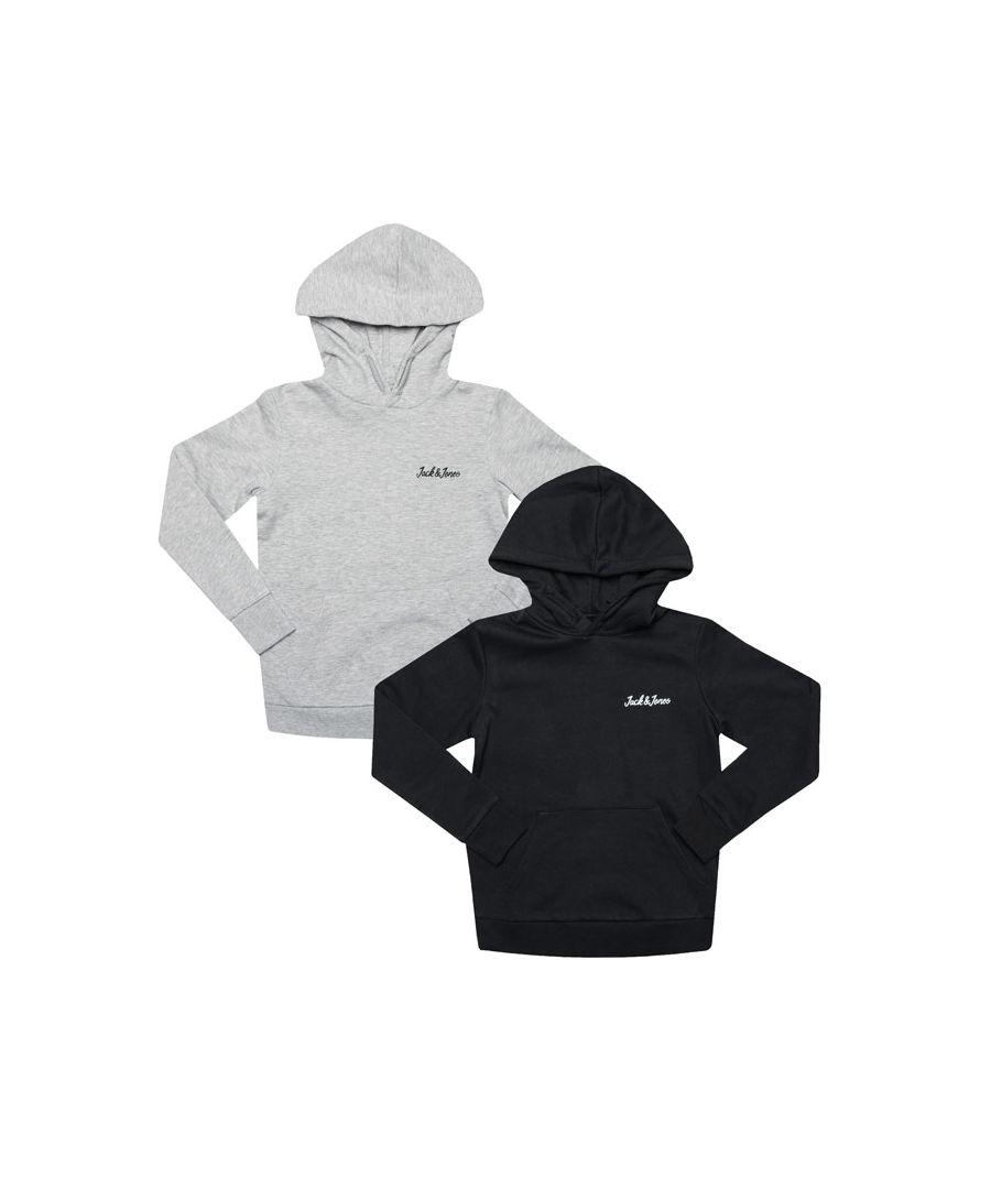 Image for Boy's Jack Jones Junior Winks 2 Pack Hoodys in Grey black