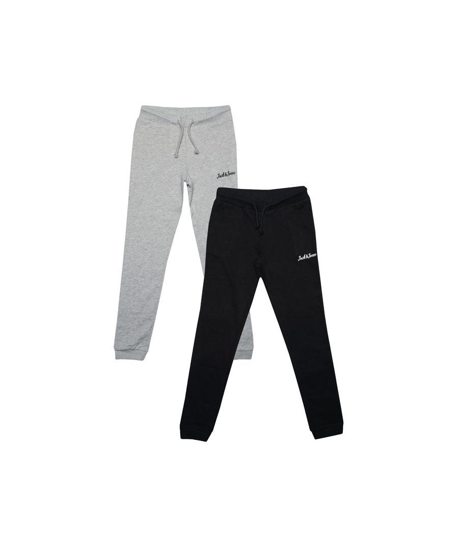 Image for Boy's Jack Jones Junior Winks 2 Pack Jog Pants in Grey black