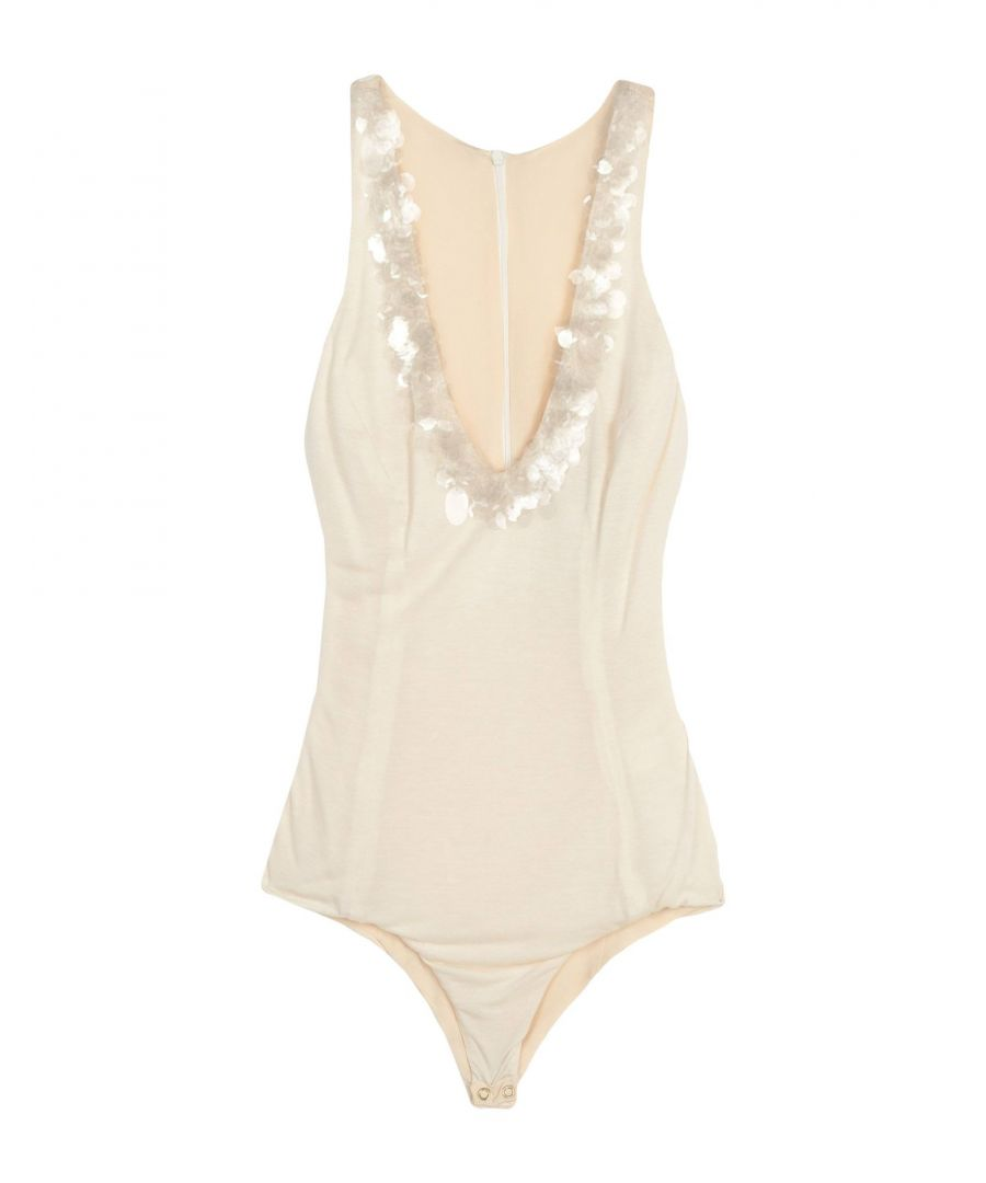 Image for Normaluisa Ivory Sequinned Modal Sleeveless Bodysuit
