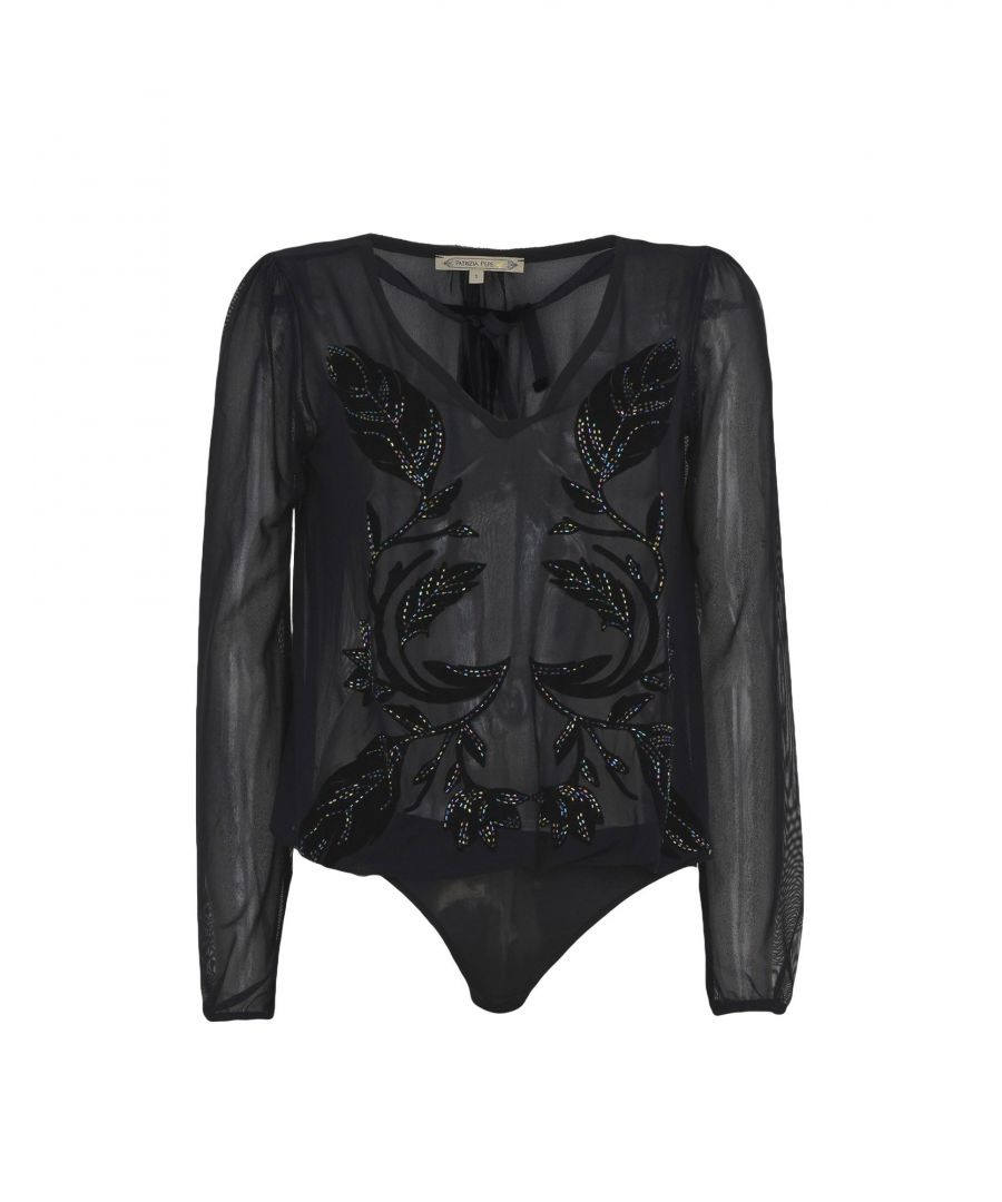 Image for Patrizia Pepe Black Long Sleeve Bodysuit