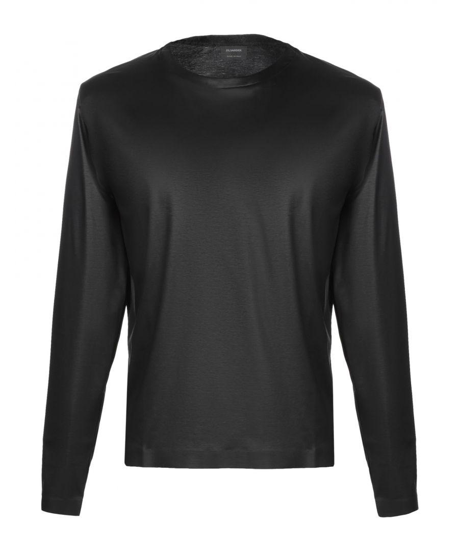 Image for Jil Sander Black Cotton Jersey Long Sleeve Top