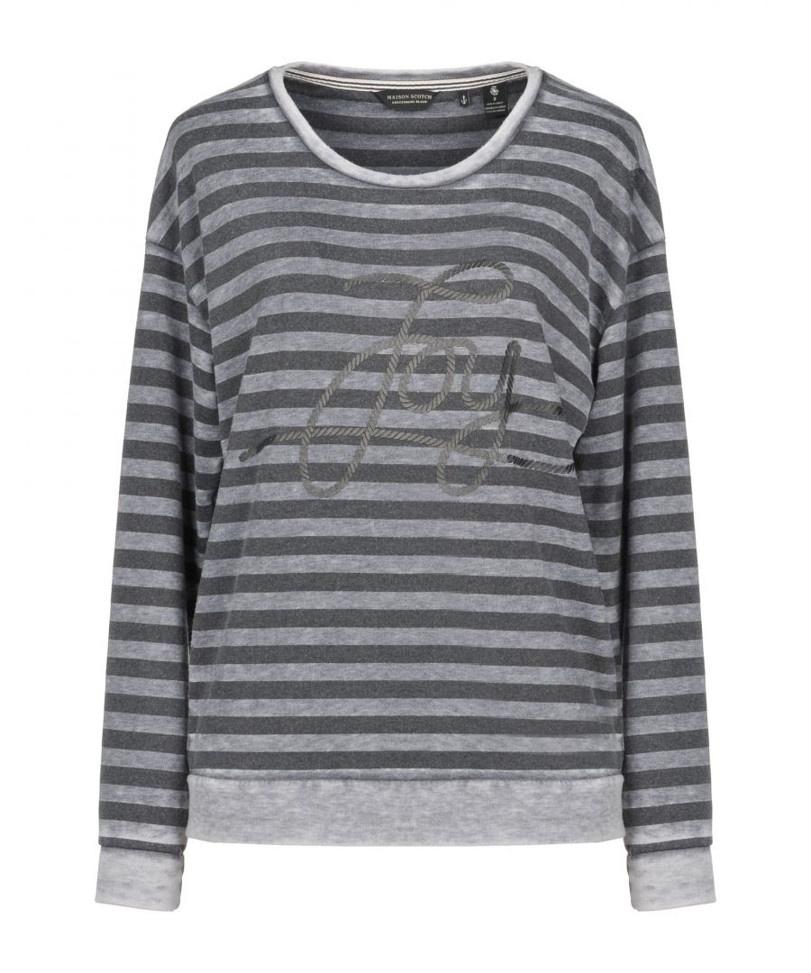Image for Maison Scotch Grey Stripe Cotton Long Sleeve T-Shirt