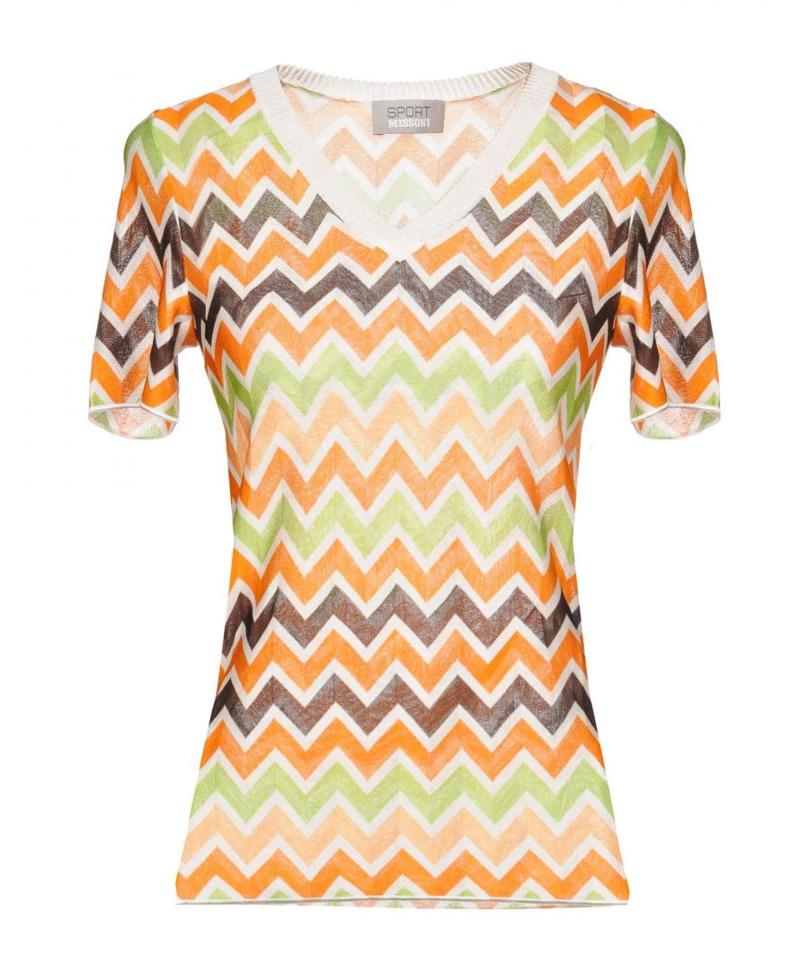 Image for Missoni Sport Orange Stripe Lightweight Short Sleeve Knit