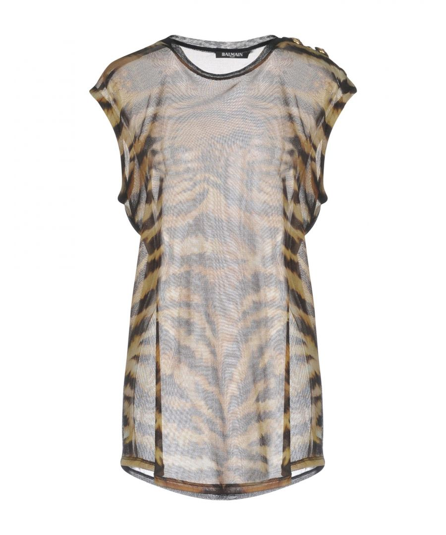Image for Balmain Khaki Animal Print Silk T-Shirt