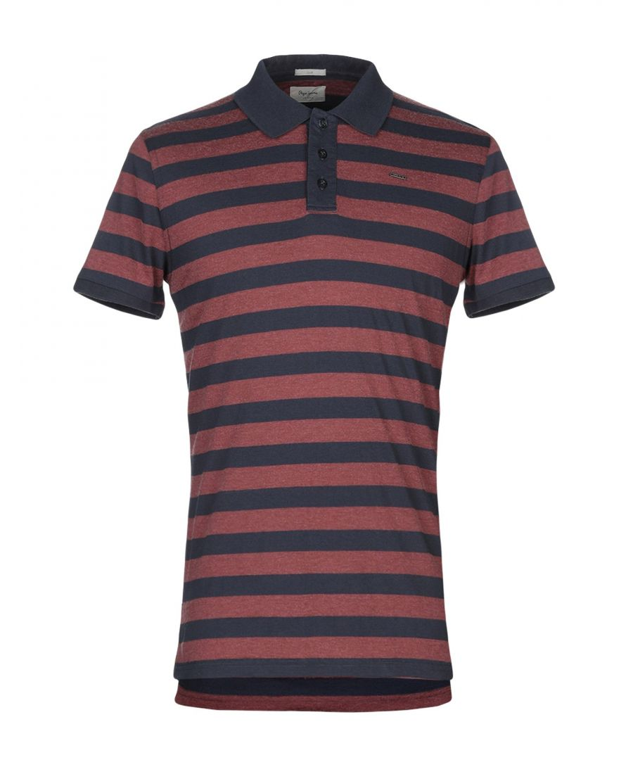 Image for Pepe Jeans Maroon Stripe Cotton Short Sleeve Polo Shirt