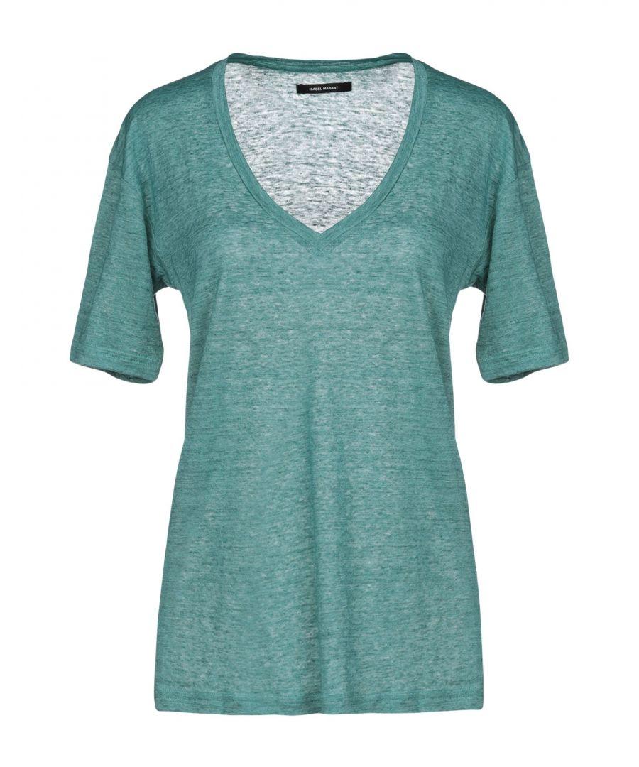 Image for Isabel Marant Green Linen V-Neck T-Shirt