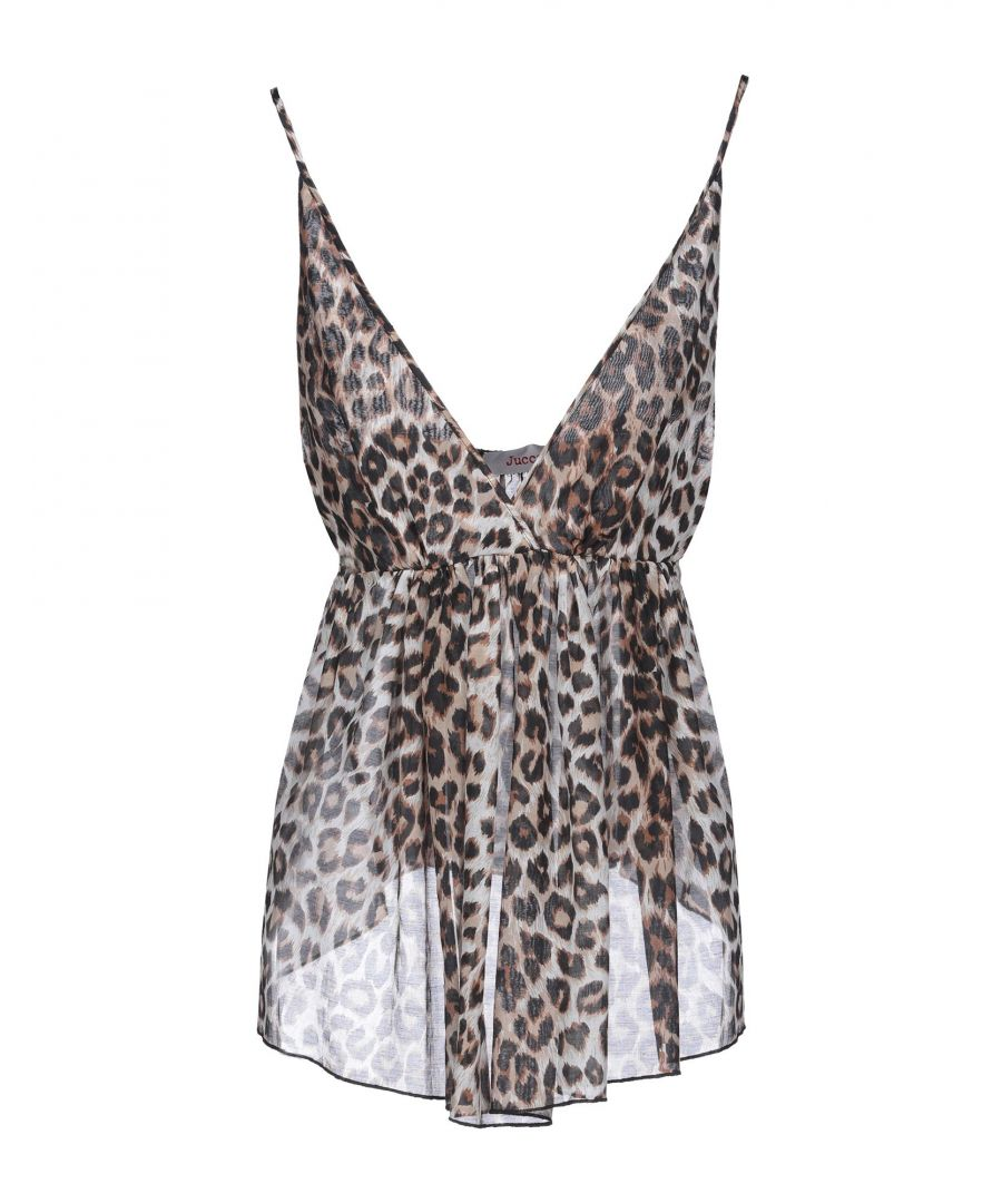 Image for Jucca Khaki Leopard Print Cotton Camisole
