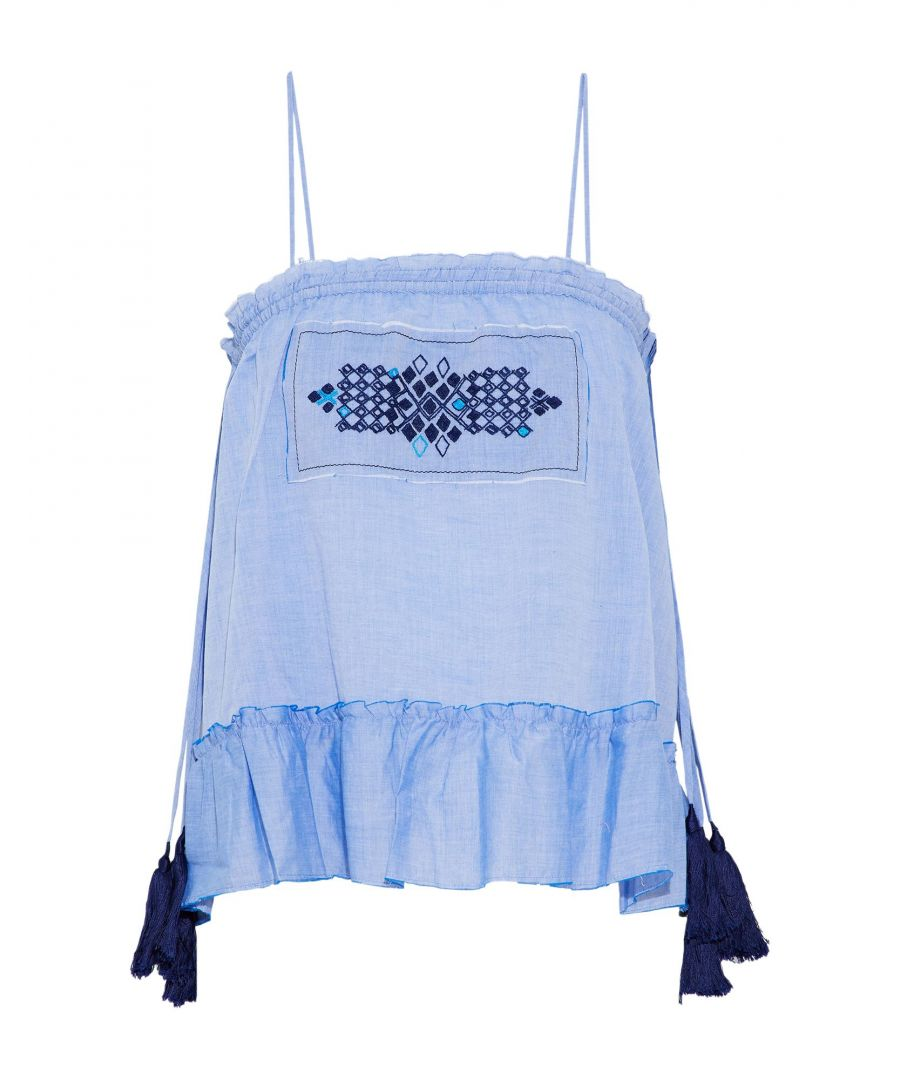 Image for Lemlem Azure Cotton Embroidered Camisole