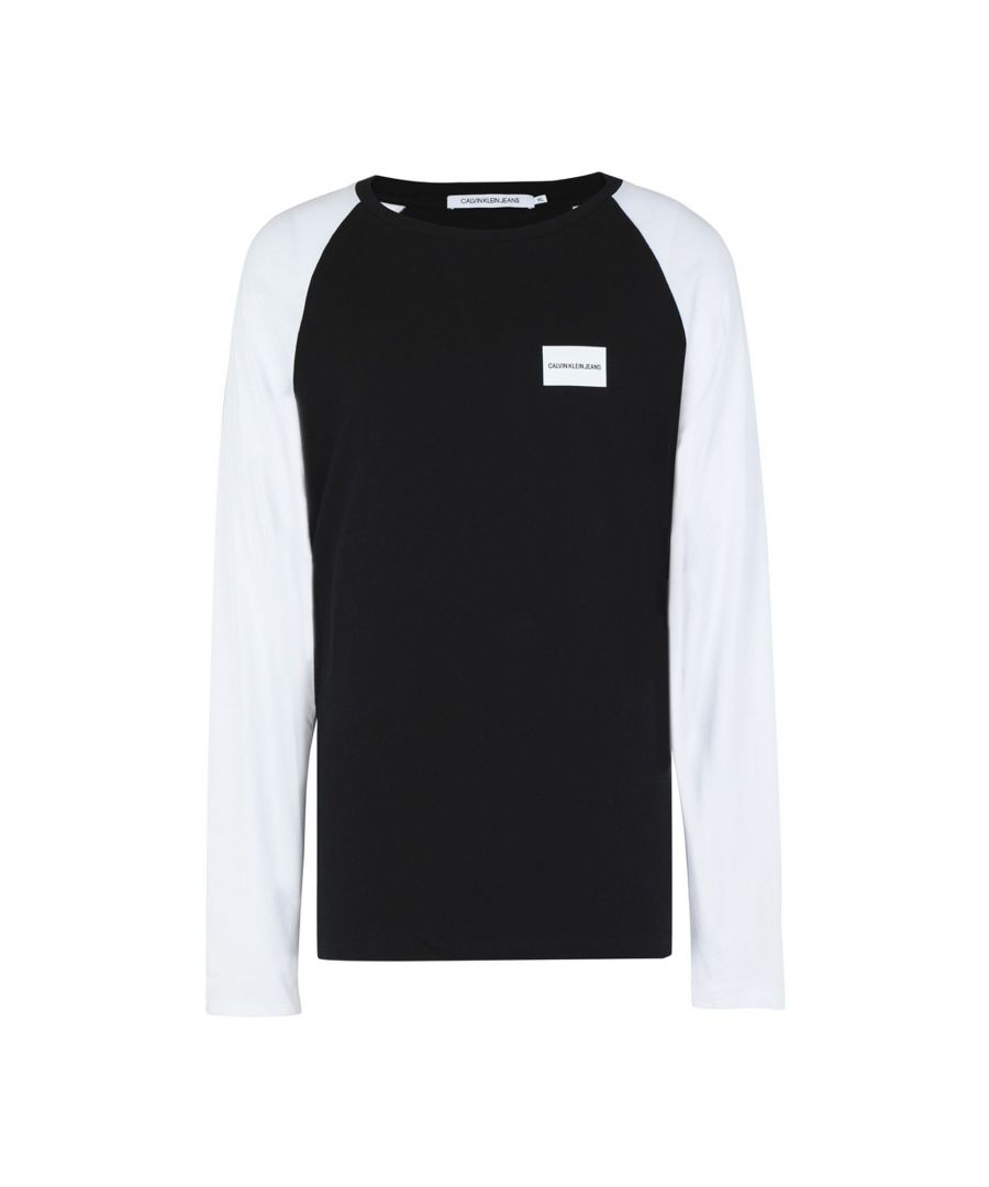 Image for Calvin Klein Jeans Black Two Tone Cotton Long Sleeve T-Shirt