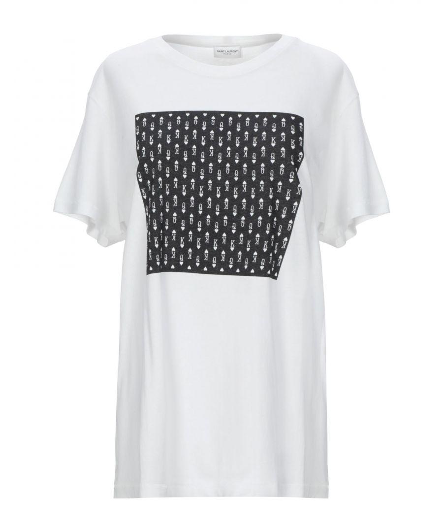 Image for Saint Laurent White Print Cotton T-Shirt