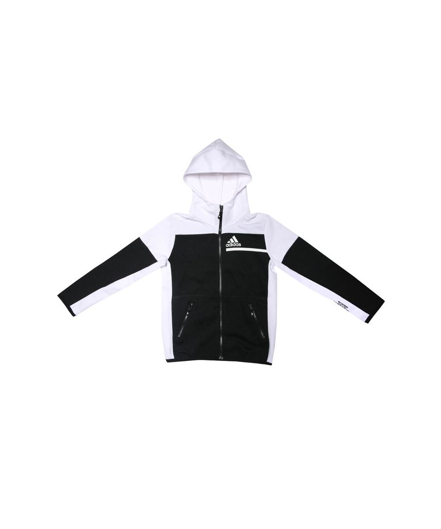 Image for Boy's adidas Infant Z.N.E. Full Zip Hoodie in Black-White