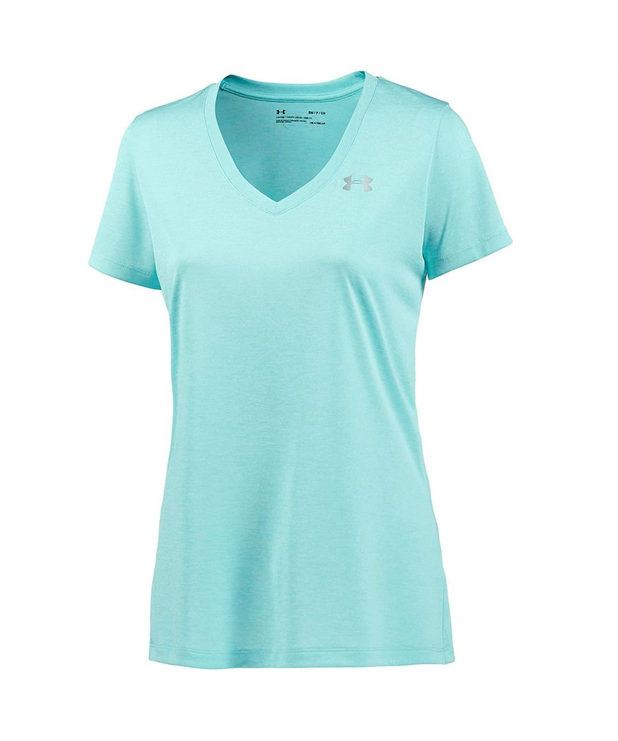 Image for Under Armour Twist Tech Womens V-Neck T-Shirt Turquoise - UK 8-10