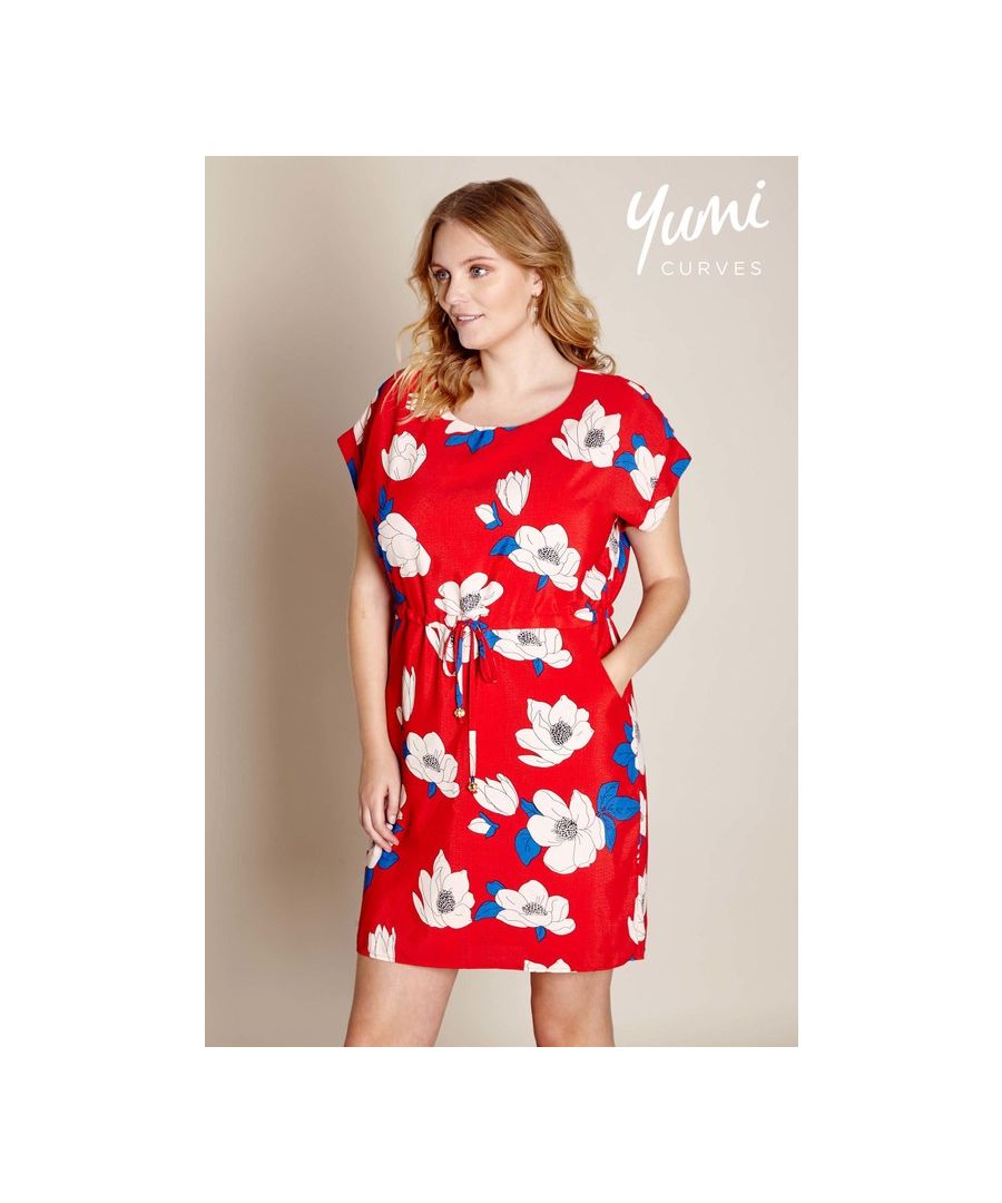Image for Yumi Curves Floral Drawstring Dress