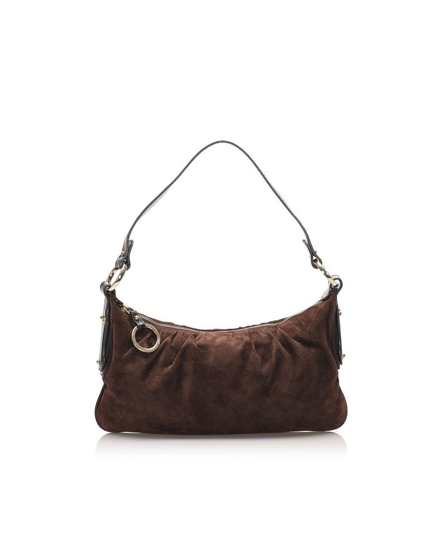Image for Vintage Fendi Suede Shoulder Bag Brown