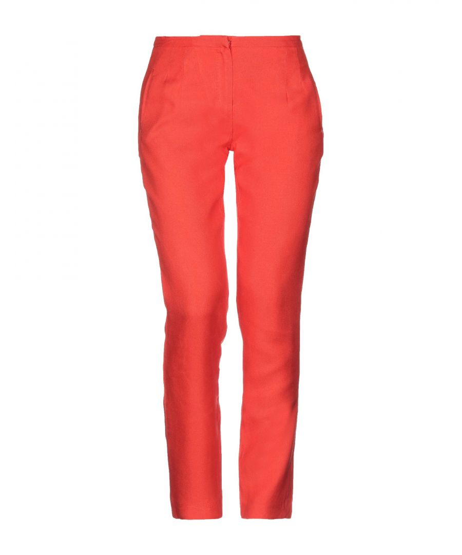 Image for Les Copains Red Virgin Wool Straight Leg Trousers